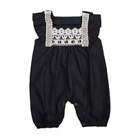 born Baby Girls Clothing Baby Girls Lace Denim Harem Romper Children Clothes