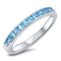 925 Sterling Silver CZ Simulated Aquamarine Princess Cut Invisible Channel Fusion Row Ring 3MM