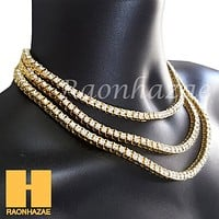 Hip Hop Tennis Choker Necklace 1 Row Solitaire Lab Diamond 4.5mm Chain