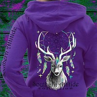 Southern Attitude Feather Deer Dream Pullover Shirt Hoodie