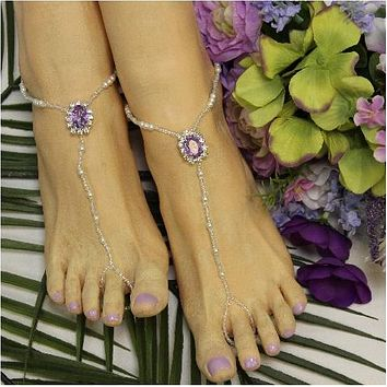 LAVENDER  beaded barefoot sandals