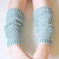 Wool Leg Warmers in Seafoam, ready to ship.
