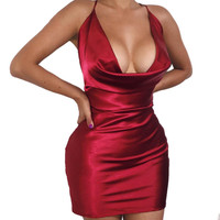 2016 Sexy New Wrap Satin Outfit Strappy V Neck Pink Party Women Red Halter Bandage Spaghetti Strap Bodycon Sportswear