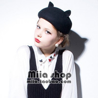 Vivi murua cat ears pure wool bucolics beret dome hat female autumn and winter-in Berets from Apparel & Accessories on Aliexpress.com