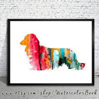 Long Haired Dachshund Watercolor Print, Archival Fine Art Print,Children's Wall, Art Home Decor,dog watercolor, watercolor painting, dog art