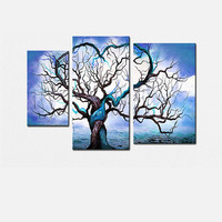 Blue Tree Love Landscape Canvas Wall Art Oil Painting