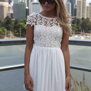 White Lace Floral Chiffon Dress