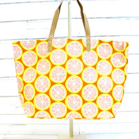 Fruit Jute Tote Bag {Grapefruit}