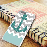 Chevron Glitter Blue Anchor iPhone 6 Plus | iPhone 6S Plus Case