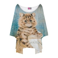 Mr. GUGU & Miss GO: Kitty Oversize Tee Women's Blue, at 9% off!