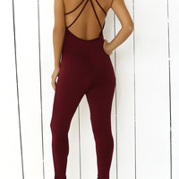 Criss-Cross Stretchy Backless Jumpsuit