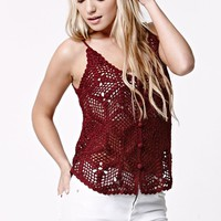 LA Hearts Button Front Crochet Tank Top - Womens Sweater