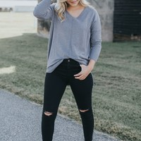 Delta Long Sleeve Sweater, Grey/Blue