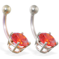 14K Gold belly ring with large 8mm Ruby