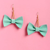 Claire Fong Zooey Mint Bow Earrings