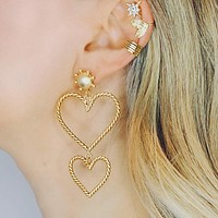 Design High Quality Classy Lady Multi Layers Exaggerated Big And Small Heart Alloy Earrings For Woman