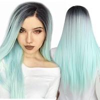 Synthetic Ombre Green Wig 22 inch Long Straight Black Synthetic Wig for Black Women can be Curly and Cosplay