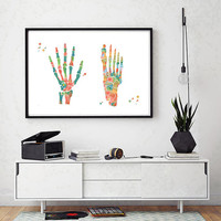 Foot and Hand watercolor print skeletal system poster anatomy art medical art skeleton structure print hand and foot bones illustration
