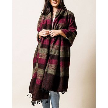 Himalayan Yak Wool Large Wrap - Winterberry