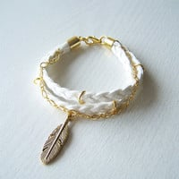 Gold Feather Bracelet, White Suede Bracelet, Braided suede Bracelet,  boho feather bracelet
