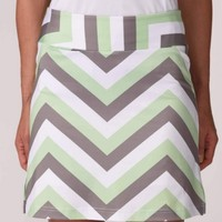 """Golftini Ladies & Plus Size 18"""" Chutes and Ladders Pull On Tech Golf Skorts - White/Grey/Green"""
