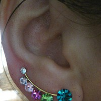 Ear Sweep Wrap - Cuff Earring with Swarovsky - Gold Filled - Rainbow