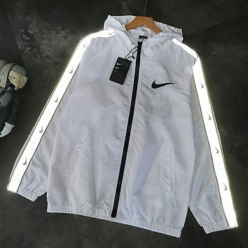 NIKE Fashion New Reflective Letter Hook Print Long Sleeve Coat Cardigan White
