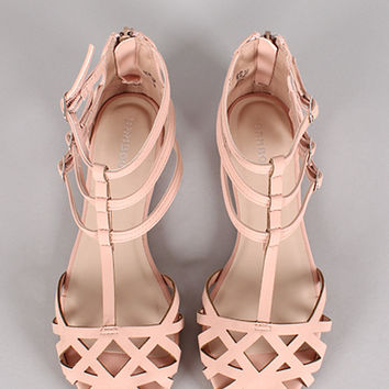 Bamboo Lynna-80 Strappy Buckle Cut Out Flat Sandal