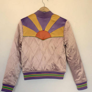 PREORDER Dusty Rose Rising Sun Jacket SALE Mauve Quilted 70s style satin bomber Jacket lightweight gold and purple seventies jacket 80s