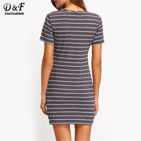 Ladies Summer Style Grey White Stripe Casual T-shirt Dresses New Arrival Womens Crew Neck Straight D