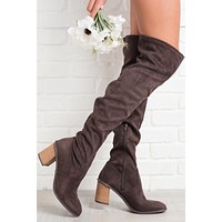 Point Of View Over The Knee Suede Boots (Brown/Dark Grey)