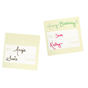 30 Modern Beige Gift Tag Stickers, 2 x 2 Inches, To / From