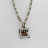 Paw Print Necklace, Paw Print Jewelry, Paw Print Charm, Pendant Necklace, Carved from Golf Ball
