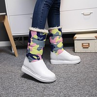 Camouflage Printed Down Lamb Wool Winter Snow Boots 1134