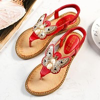 Fashion hot selling stone bow buckle elastic women's sandals Red