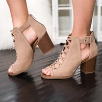 Buckle Up Babe Cross Front Detail Suede Booties (Taupe)
