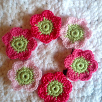 Hand Crochet Flower Appliques Embellishments Set of 6-Key Lime Pie, Hot Pink, Bubblegum Pink and Cotton Candy Pink