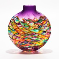 Flat Optic Rib Vase in Candy with Grape by Michael Trimpol: Art Glass Vase   Artful Home