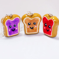 Peanut Butter and Jelly 3 Best Friends Necklace Set - Three BFF friendship toast necklaces