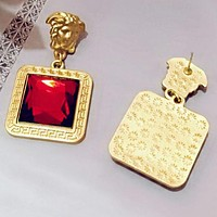 VERSACE Newest Women Exaggerated Stylish Gem Earrings Accessories Jewelry Red