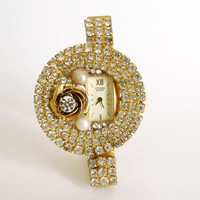 Vintage Citizen ladies rhinestones watch Pearls