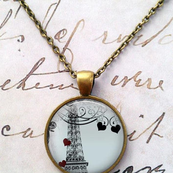 Paris Necklace, Travel, France, French, Love, Je t'aime, Travel, Eiffel Tower, Steampunk T9