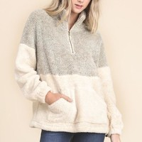 Turtle Neck Fuzzy Pullover