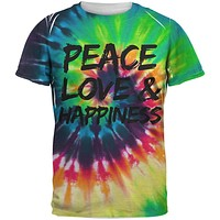 Peace Love & Happiness Tie Dye All Over Adult T-Shirt
