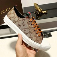 GUCCI 2018 new classic tiger head embroidery wild casual shoes sports shoes Khaki