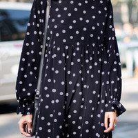 Navy Polka Dot Long Sleeve Babydoll Dress