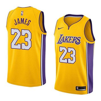 LeBron James Jersey 2018-19 Men's Los Angeles Lakers #23 Nike Swingman-Icon Edition Color Yellow