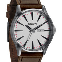 Nixon Sentry Leather Mens Watch in Silver/Brown (A105-1113)