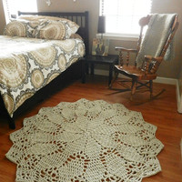 Grey Swirl Crochet Doily Rug- Cottage Chic Rug- Area Rug- Round Rug- Carpet- Floor Mat- Country Chic, French Country, Living Room, Nursery