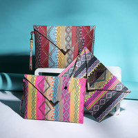 National flavor geometric canvas bags Envelope package ethnic style hand bags women phone package purses big wallet #L09707